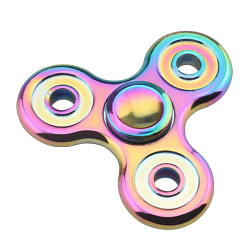 Rainbow EDC Fidget Triangle Hand Spinner Metal ADHD Autism Focus Finger Toys