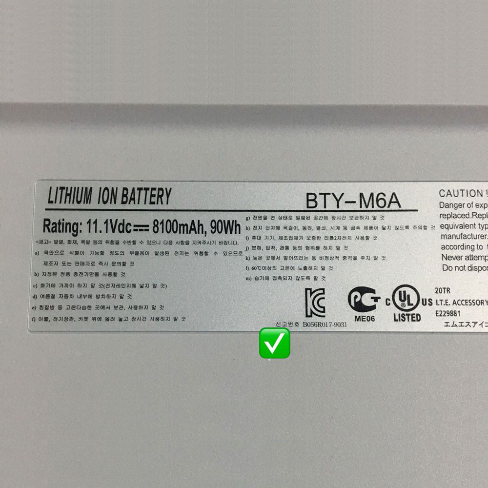 MSI BTY-M6A batteries