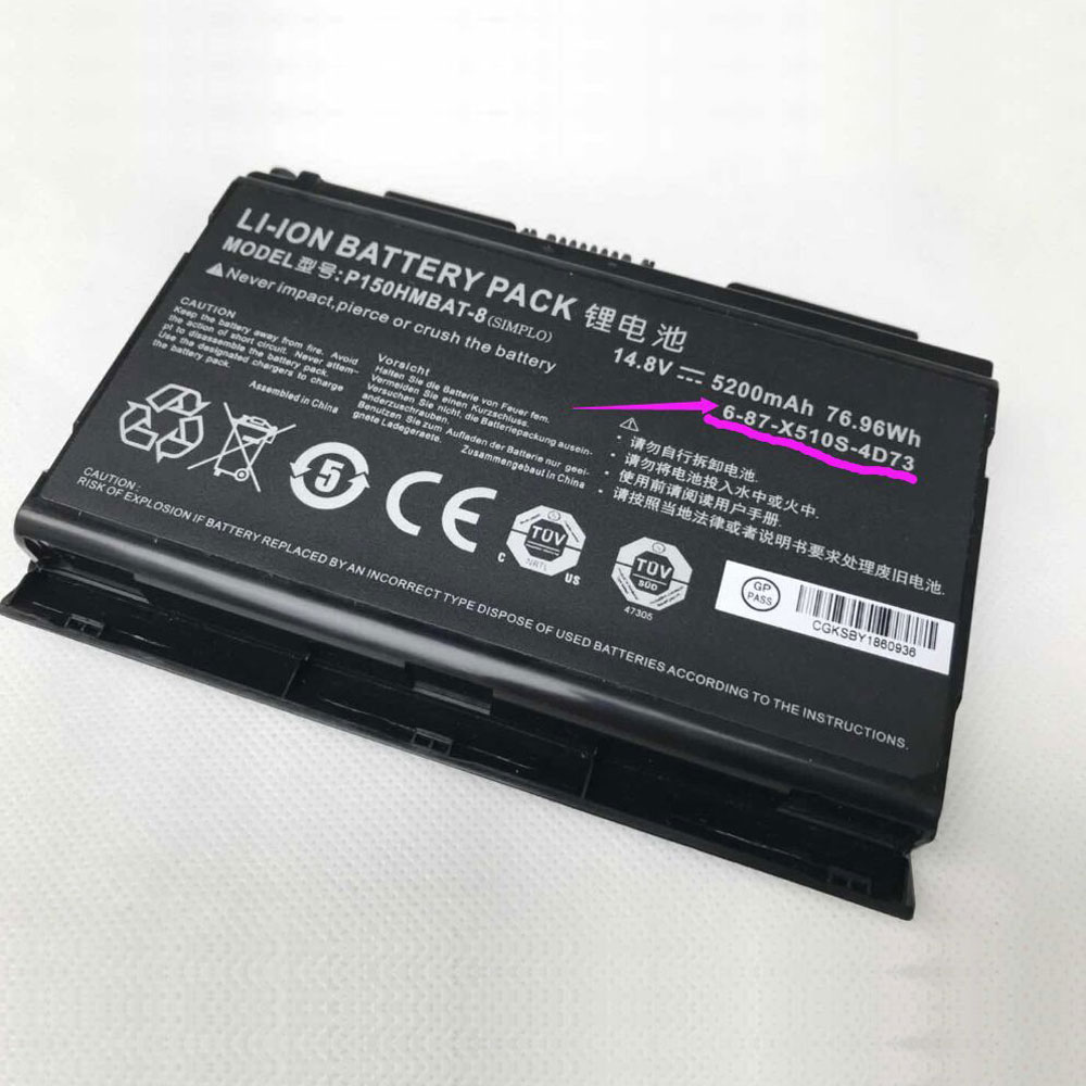 CLEVO 6-87-X510S-4D73 laptop battery